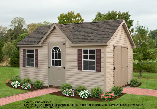 12x16 Classic A-Frame Shed