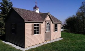 shed with stone pad