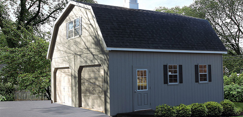 two-story double wide modular garage in a gambrel style