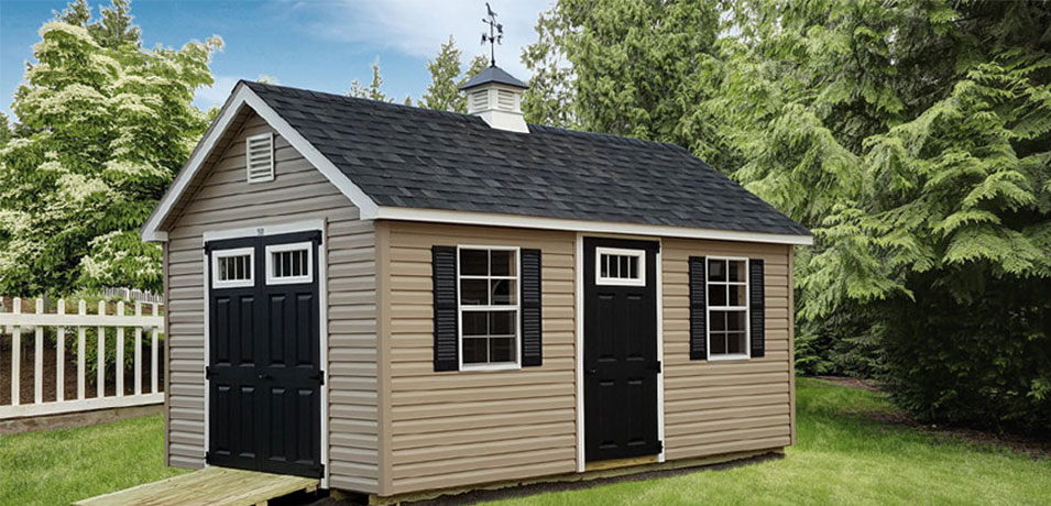 Tan Classic A-frame Shed With Gable Vents and Ramp