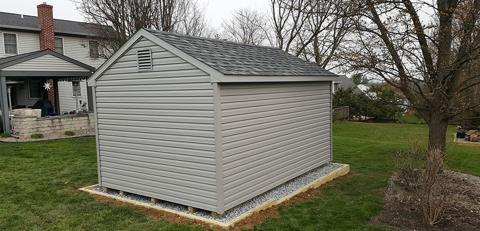 grey 10x14 a-frame vinyl shed in Lancaster PA
