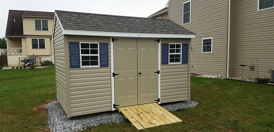 tan 8x12 a-frame vinyl shed in Mount Joy PA