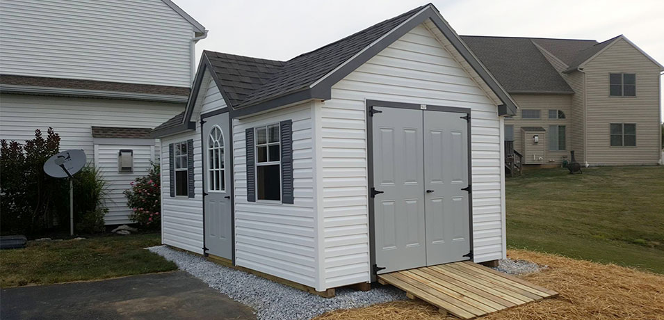 white 10x16 victorian vinyl shed in Mount Joy PA