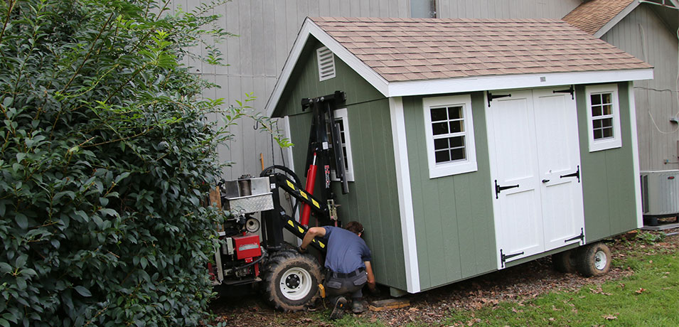 installation of new amish storage shed