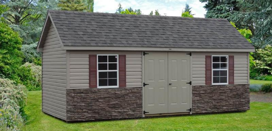 made-to-order stone veneer shed