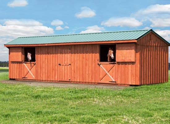 Multi horse size modular barn