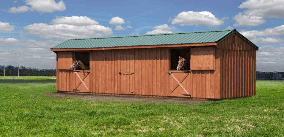 pre-built horse barn with metal roof